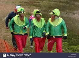 competitors in irish lepricon fancy dress prepare for the start in