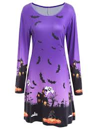 pumpkin bat print long sleeve halloween swing dress purple xl in