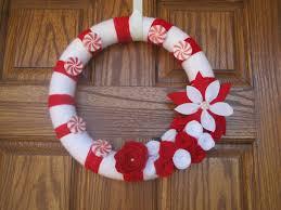 14 inch candy cane yarn wreath christmas yarn wreath holiday