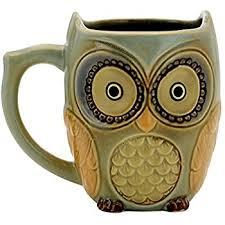 owl mug teagas owl mug cup 12 oz cyan owl morning