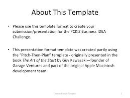 pckiz business idea challenge content sample template