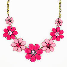 statement necklace with flower images Pink flower necklace floral statement bib necklace by jpg