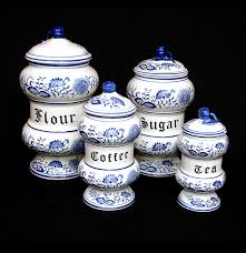 delft style blue and white porcelain kitchen canister set ebth