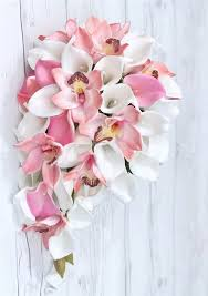 pink lilies orchids and calla lilies cascading bouquet