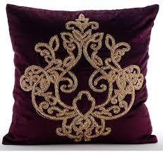 The HomeCentric Purple Zardozi Damask Velvet Decorative Pillows