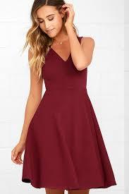 wine red dress midi dress skater dress sleeveless dress 59 00