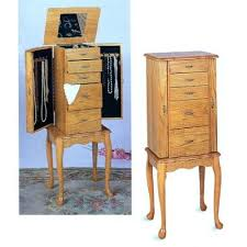 Wooden Jewelry Armoire Standing Mirror Jewelry Armoire