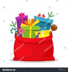 full bag gifts santa claus christmas stock vector 515131480