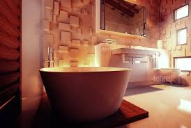 exotic bathroom with textured wall treatment in luxury villa bali