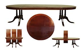 Large Round Dining Room Tables by High End Round Dining Table With 3 Leaves Sits 12