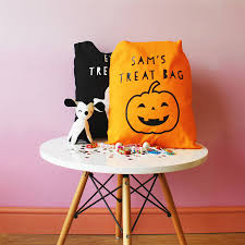 personalised pumpkin halloween u0027trick or treat u0027 bag by parkins