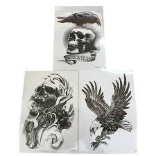 tattoo gun sketch 3pcs flying eagle henna fake tattoo gun skull 3d waterproof tattoo