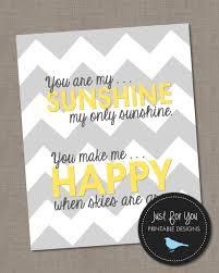 sunshine invitation you are my sunshine wall art yellow and gray grey chevron 8x10
