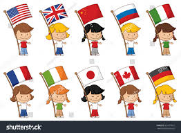 Flags Of The Wrld Little Kids Holding Some Well Known Stock Vektorgrafik 221877967