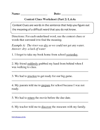 context clues worksheet part 2 l 6 4a 3rd 6th grade activities