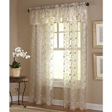 Sheer Curtains With Valance Amberly Embroidered Leaf Rod Pocket Sheer Window Curtain Panel And
