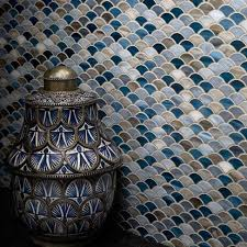artistic tile scale mosaic in a range of blue tones specialty