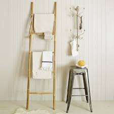Leaning Bathroom Ladder Over Toilet by Ladder Towel Rack Wood The Wooden Ladder As A Modern Part Of The
