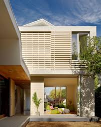 modern exterior of 2 bar house with white wood rain screen panels