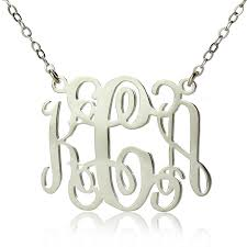 silver monogram necklace bellino style monogram necklace solid white gold 10k 14k 18k