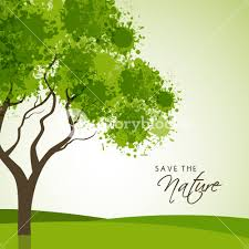 creative tree made by green color splash on shiny background for