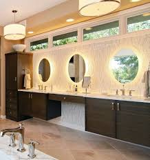 Lighting Ideas Around Mirror Led Lights And Drum Shade Pendant - Bathroom vanity light size