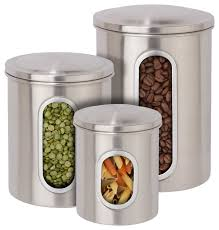 stainless steel canisters kitchen 3 metal storage canister set stainless steel finish