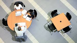 4k overhead view business in meeting area of large modern