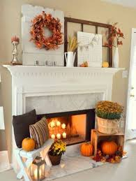 fireplace mantel thanksgiving theme decor thanksgiving