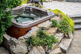 want to see an awesome pool and spa in a small backyard rock