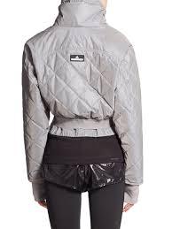 adidas by stella mccartney cropped puffer jacket in metallic lyst