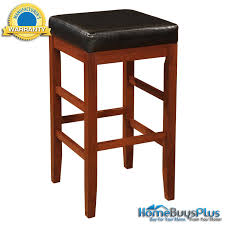 powell pennfield kitchen island counter stool cherry square backless bar stool with black bonded leather seat