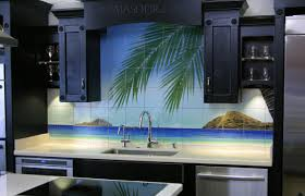 Kitchen Mural Backsplash Kitchen Design Hawaii Beach Scene U2013 Thomas Deir Honolulu Hi Artist