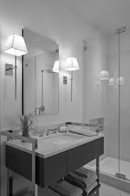 bathroom modern wall sconce applied in gray toned bathroom for