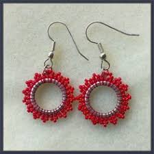 Ruby Red Long Brick Stitch Native American Dangle Earrings Red And Black Clear Glass Beads