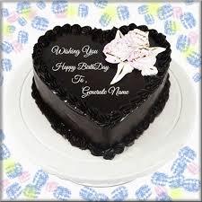 happy birthday heart shape choco cake with name