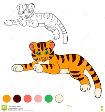 coloring page color me tiger little cute baby tiger stock
