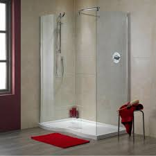 red bathroom mat with glass door for modern walk in shower ideas