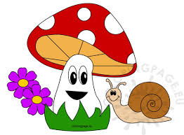 happy snail with beautiful mushroom clipart coloring page