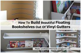 how to build beautiful floating bookshelves out of vinyl gutters