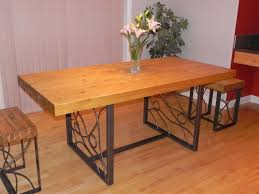 large rectangle butcher block dining table top with wrought iron