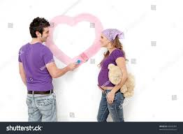 decorating first home happy couple decorating first homediy people stock photo 43936387