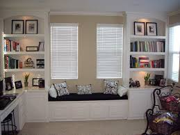 home office bookcases with built in shelving and window seat c
