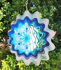 Garden Spinners And Decor Snowflake Silver U0026 Blue Garden Wind Spinner Metal Yard Art And