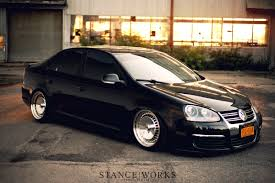 jetta volkswagen black stance works a mkv jetta on polished schmidt wheels