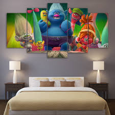 trolls painting promotion shop for promotional trolls painting on 5 piece canvas art movie poster trolls painting wall pictures for living room cartoon decor wall decoration children kid room