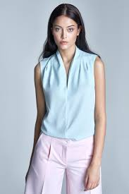 baby blue blouse light sky blue sleeveless blouse with drape neckline