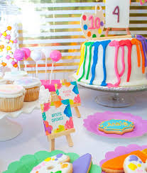 Neon U0026 Gold Art Birthday Party By Party Sprinkles
