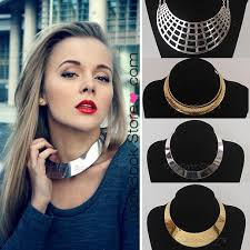 jewelry necklace choker collar images Womens gold silver tone curved mirrored metal choker collar jpg