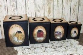 primitive kitchen canisters country canister sets for kitchen foter